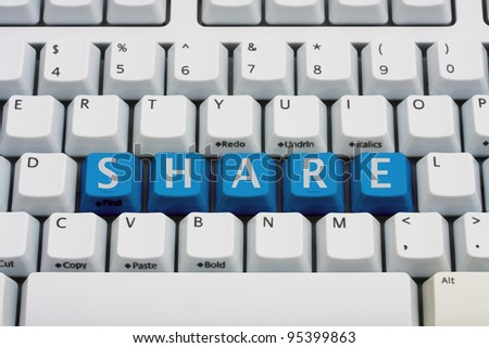 A computer keyboard with blue keys spelling share, Sharing your information