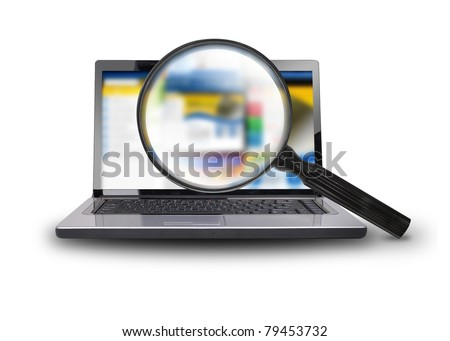 A computer laptop is isolated on a  white background with a magnifying glass searching the internet. - stock photo