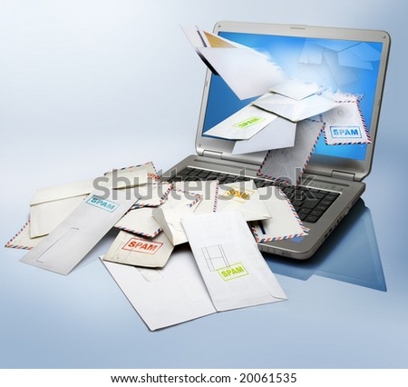 a computer  receiving a lot of spam - stock photo