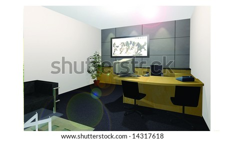 A computer rendered illustration of a Chairman CEO Office Room