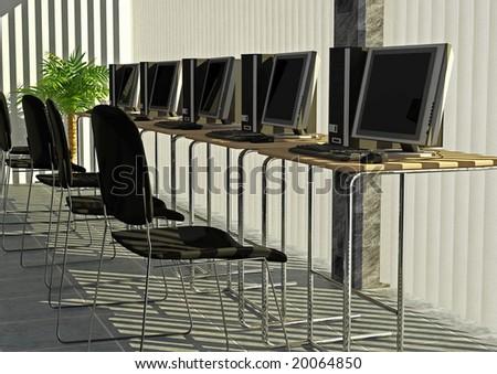 A computer room setup - stock photo