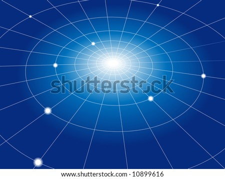 A concentric abstract network of grid lines connects nodes. Abstract background. - stock photo