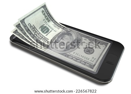 A concept image of a generic smart phone with digital on screen money changing into real us dollar banknotes signifying cell phone payment systems on an isolated white studio background