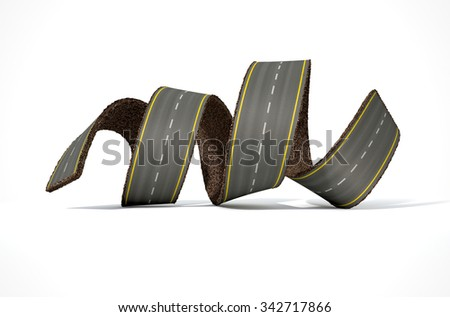 A concept image of a strip of tar that has been peeled and curled on an isolated white studio background - stock photo