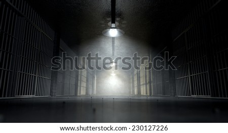 A concept image of an eerie corridor in a prison at night showing jail cells dimly illuminated by various ominous lights - stock photo