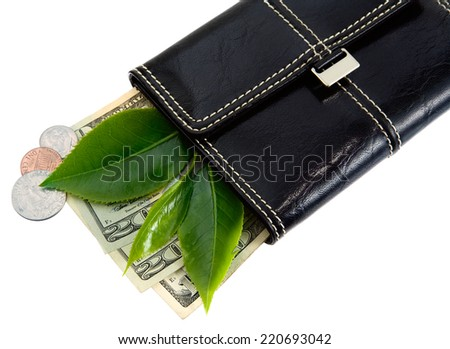 A concept image of cash and change spilling out of a wallet. New green leaves can relate to concepts dealing with eco-friendly spending, wise money management or growing your finances.  - stock photo