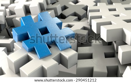 A concept image showing a scattered collection of white hashtags and a single blue one on an isolated studio background  - stock photo