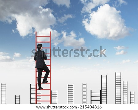 A concept of competition, and problem solving. Blue sky background.  - stock photo