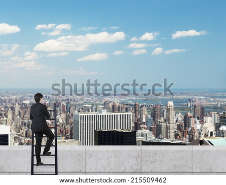 A concept of competition. Businessman, ladder and the roof. city view background. - stock photo