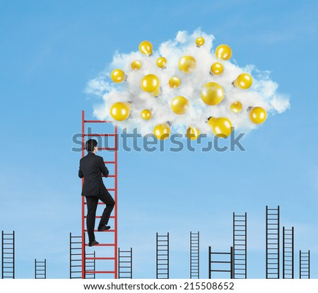 A concept of competition. To find the best idea. Sky background. - stock photo
