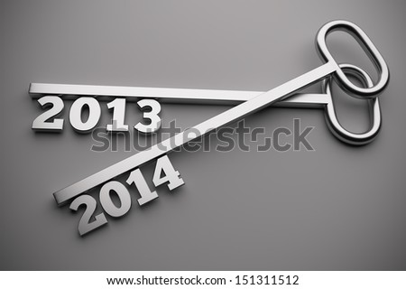 a 2013 - 2014  concept on grey, 3d render - stock photo