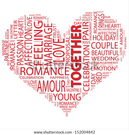 A concept or conceptual red wordcloud or text in shape of heart isolated on white background as metaphor to love,romance,passion,romantic,emotion,marriage,valentine,desire,friendship or affection - stock photo