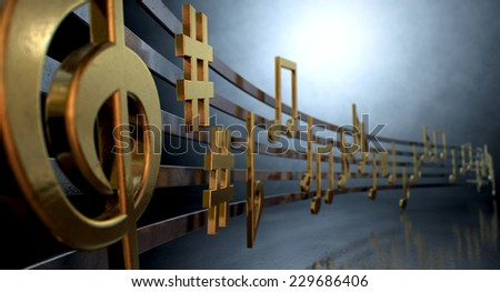 A concept showing literal gold metallic music symbols and notes on the five wavy octave lines on a spotlit background - stock photo