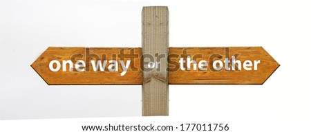 A concept signpost pointing to one way or the other - stock photo