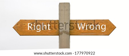 A concept signpost pointing to Right or Wrong - stock photo