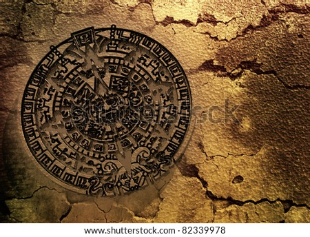 A conceptual 3d render of the Mayan calendar as if etched out of gold. Copy space