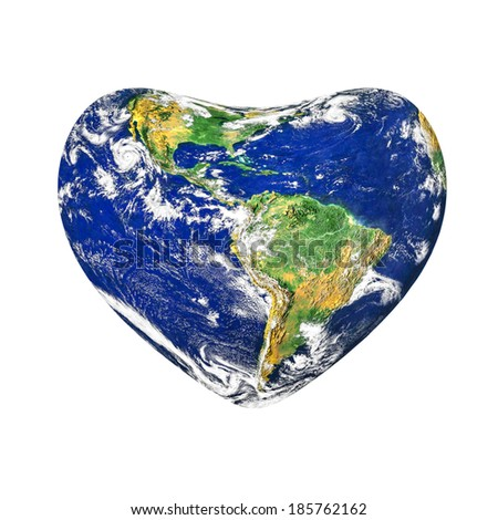 A conceptual for loving the world, the globe in the heart shape, isolated on white background.Elements of this image furnished by NASA - stock photo