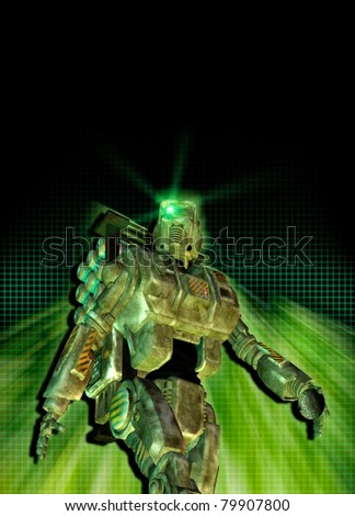 A conceptual image of a future foot soldier as may be used by the military, as seen against a hi tech  background.