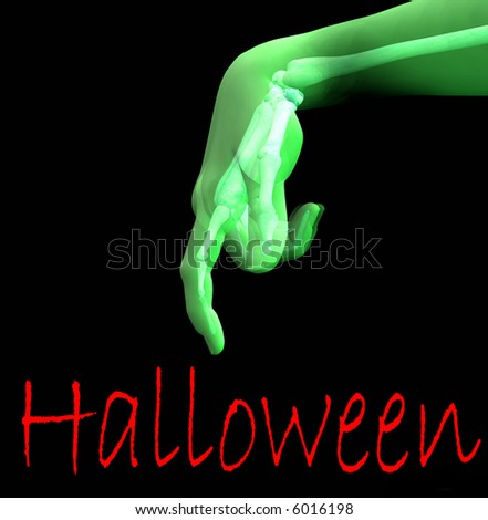 A conceptual image of a x-rayed hand that you can see the bone under the skin, would make a suitable image for Halloween. - stock photo