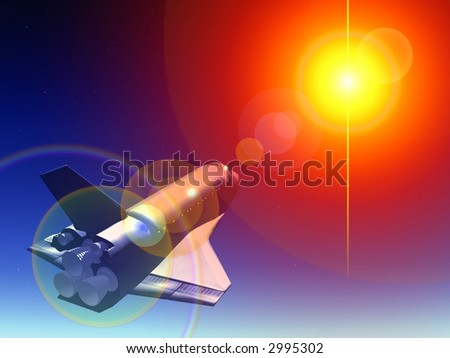 A conceptual image of spacecraft flying towards a star.