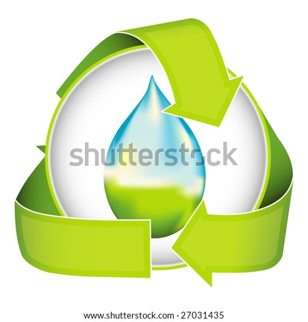 A conceptual image of water conservation nested in a recycling logo. - stock photo