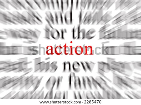 A conceptual image representing a focus on action - stock photo
