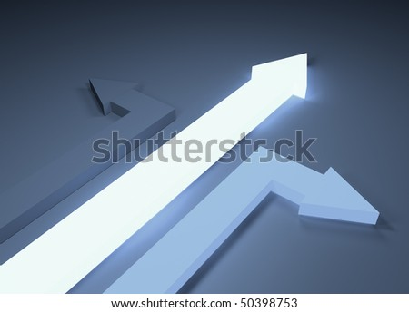 A conceptual image showing arrows going in different directions.