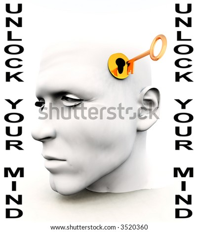 A conceptual key unlocking a mind, representing imagination,inspiration and intellect. - stock photo