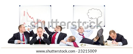 A conceptual representation of a board room on a slow day, with business going down due to the economic downturn, recession and financial crisis