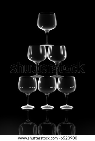 A conceptual stack of six brandy glasses  - rendered in 3d