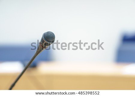 A conference microphone in meeting room
