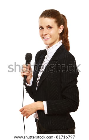 A conference speaker during presentation, isolated on white background - stock photo
