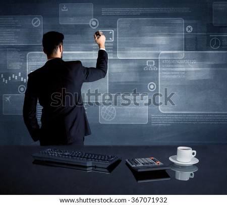 A confident office worker drawing digital chart boxeswith numbers illustration in the middle of a conference meeting concept - stock photo