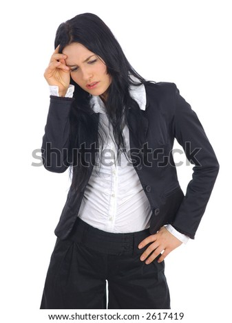 A confident young businesswoman in suit jacket on white background - stock photo