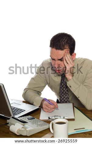 A confused accountant looking at his recent calculation, isolated against a white background - stock photo