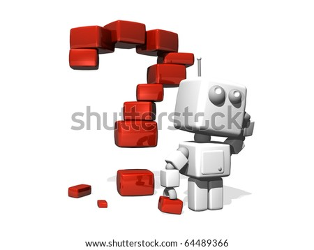 A Confused 3D Robot with a Red Question Point made of Shiny Bricks. - stock photo