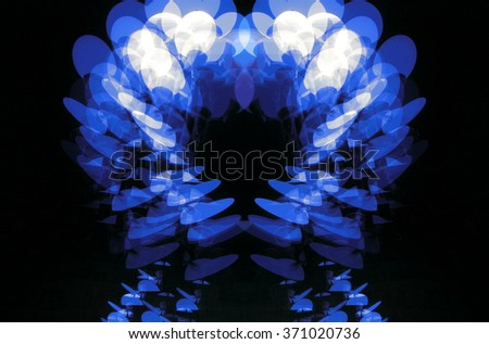 A constructed blue digital illustration of multiple exposure of Marseilles street lights, France - stock photo