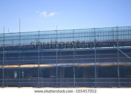 a construction under progress, with full safety in mind - stock photo