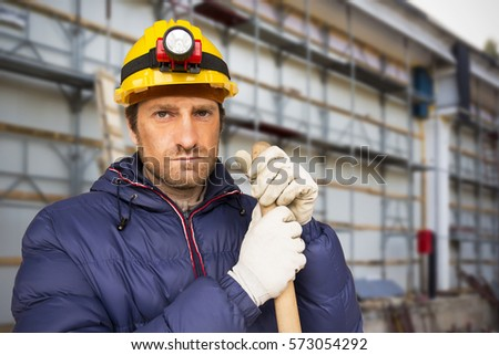 A construction worker at a construction site