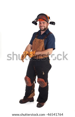 a construction worker in his safety gear isolated - stock photo
