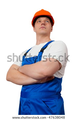 A construction worker wearing a blue denim workwear. Isolated.