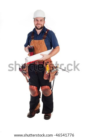 a construction worker with a mug and blue prints - stock photo