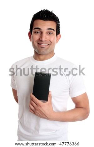 A consumer or man holding a retail merchandise in a blank box ready for your design.  He is dressed casually and smiling - stock photo