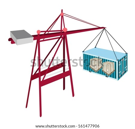 A Container Crane Lifting A Blue Freight Container To A Ship, Container Crane Is A Heavy Machine for Loading and Unloading Container from Container Ship.  - stock photo
