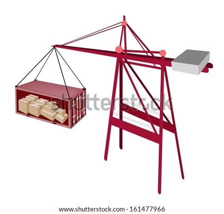 A Container Crane Lifting A Red Freight Container To A Ship, Container Crane Is A Heavy Machine for Loading and Unloading Container from Container Ship.  - stock photo