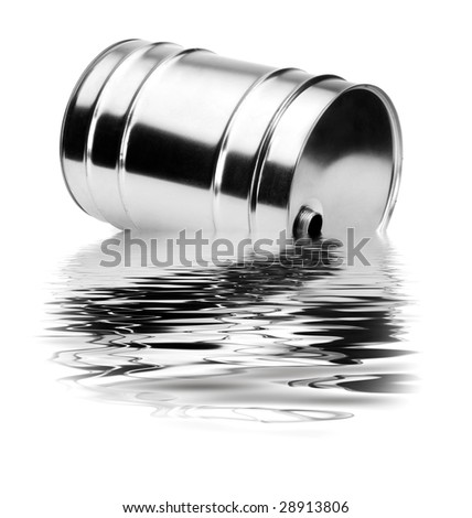 A container that disperses toxic waste in water - stock photo