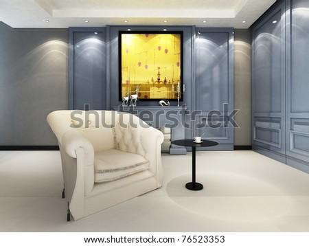 A contemporary elegant sofa - stock photo