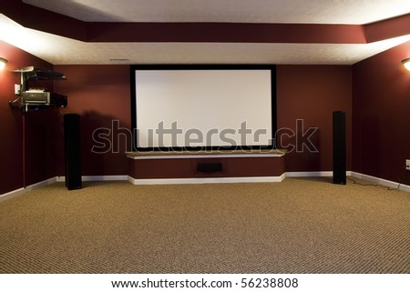 A Contemporary Home Theater Setup - stock photo