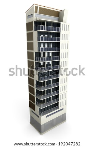 A contemporary modern urban building. 3D Illustration. Isolated on white.