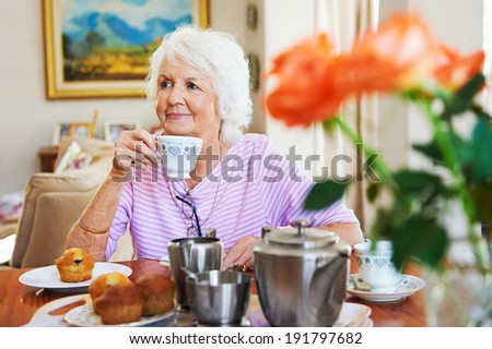 A content old lady enjoying some tea and a muffin - stock photo